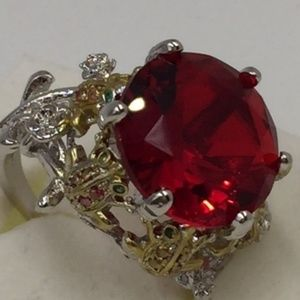 925 Silver Frog Ruby Prong Setting Ring Size 7 .75